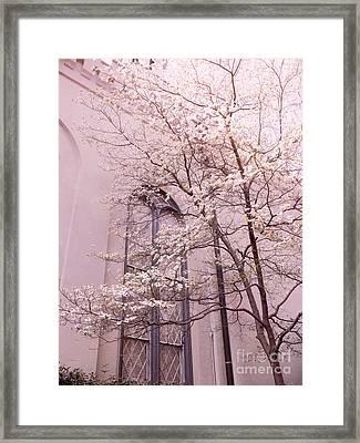 Dreamy Savannah Church Window Pink Trees  Framed Print by Kathy Fornal