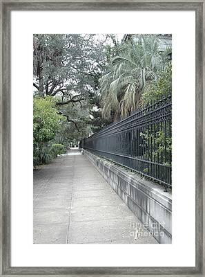Dreamy Savannah Georgia Street Architecture Rod Iron Gates With Palm Trees  Framed Print by Kathy Fornal