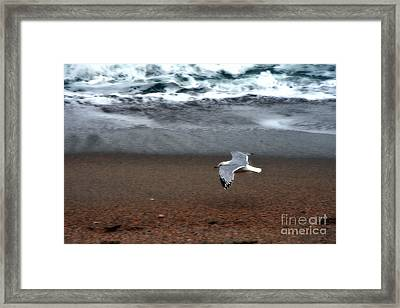 Dreamy Serene Ocean Waves Coastal Scene Framed Print by Kathy Fornal