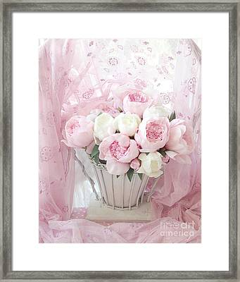 Dreamy Shabby Chic Basket Of Pink White Peonies - Vintage Pink White Peony Basket Floral Wall Decor Framed Print by Kathy Fornal