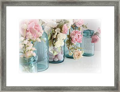 Shabby Chic Roses Blue Aqua Ball Mason Jars - Roses In Aqua Blue Mason Jars - Shabby Chic Decor Framed Print