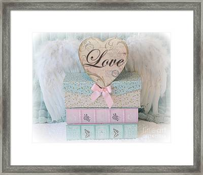 Dreamy Shabby Chic Cottage Pastel Pink Aqua Romantic Valentine Love Heart - Valentine Love Heart Art Framed Print