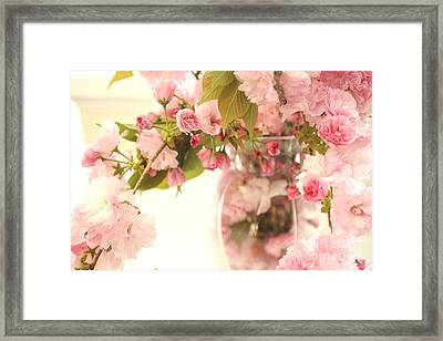 Dreamy Shabby Chic Cottage Pink Cherry Blossoms Flowers In Vase Framed Print by Kathy Fornal