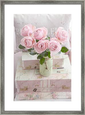 Dreamy Shabby Chic Cottage Pink Teal Romantic Floral Bouquet Roses In Ball Jar - Shabby Chic Pink  Framed Print by Kathy Fornal