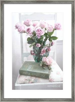 Dreamy Shabby Chic Cottage Pink Teal Romantic Floral Bouquet Roses Paris Book On Chair Framed Print by Kathy Fornal