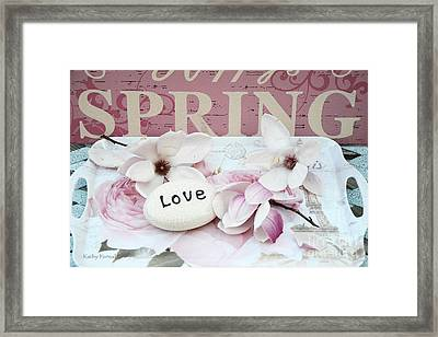Dreamy Shabby Chic Cottage Spring Pink Magnolia Blossoms - Pink And White Magnolia Blossoms Framed Print by Kathy Fornal