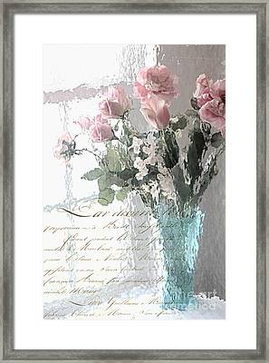 Dreamy Shabby Chic Pastel Flowers - Romantic Impressionistic Paris Roses And Tulips Framed Print by Kathy Fornal