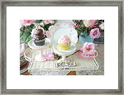 Dreamy Shabby Chic Pink Chocolate Cupcakes Vintage Romantic Food Floral Cupcake Kitchen Art Decor Framed Print by Kathy Fornal