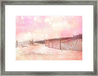 Dreamy Shabby Chic Pink Beach Coastal Art With Hearts And Bokeh Circles - Pastel Pink Beach Art Framed Print by Kathy Fornal