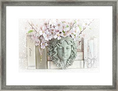 Dreamy Shabby Chic Pink Blossoms Paris Books Floral Art  - Romantic Paris Shabby Chic Pink Floral Framed Print by Kathy Fornal