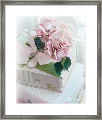 Dreamy Shabby Chic Pink Hydrangea - Romantic Cottage Chic Vintage Pastel Hydrangea Floral Art Framed Print by Kathy Fornal