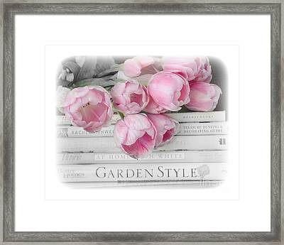 Dreamy Shabby Chic Pink Pastel Tulips - Pink Tulips Cottage Garden Books Decor Framed Print by Kathy Fornal