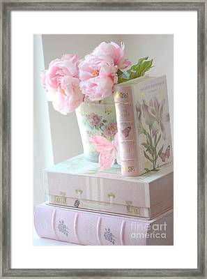 Dreamy Shabby Chic Pink Peonies And Books - Romantic Cottage Peonies Floral Art With Pink Books Framed Print