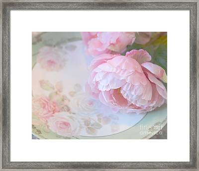 Dreamy Shabby Chic Pink Peonies - Romantic Cottage Chic Vintage Pastel Peonies Floral Art Framed Print by Kathy Fornal