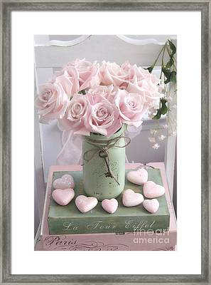 Dreamy Shabby Chic Pink Roses - Romantic Valentine Pink Roses And Hearts Floral Art Framed Print by Kathy Fornal