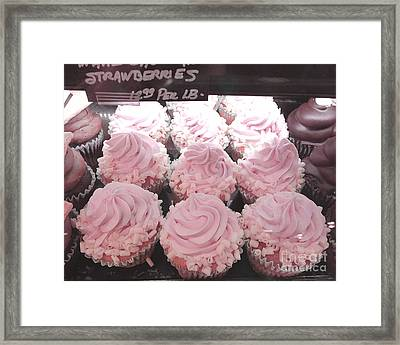 Dreamy Shabby Chic Pink Strawberry Cupcakes - Cottage Pink Cupcakes Food Photography  Framed Print by Kathy Fornal