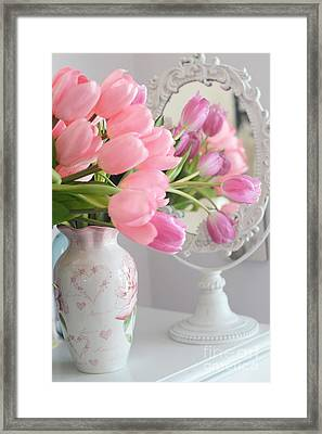 Dreamy Shabby Chic Pink Tulips In Mirror - Romantic Cottage Chic Pink Tulips Framed Print by Kathy Fornal