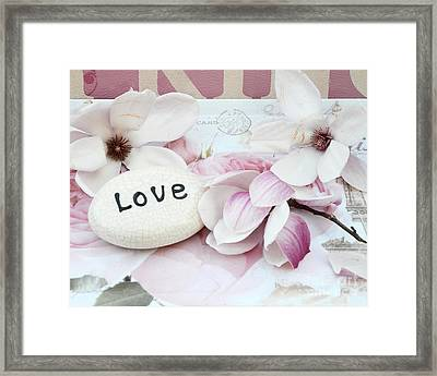 Dreamy Shabby Chic Pink White Magnolia Blossoms - Romantic Pink Magnolias With Love Framed Print by Kathy Fornal