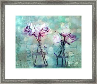 Dreamy Shabby Chic Roses Impressionistic Pink Teal Aqua - Romantic Roses Love Floral Impressionistic Framed Print by Kathy Fornal