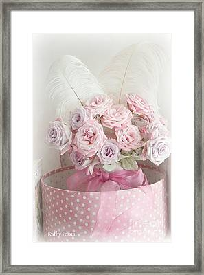 Dreamy Shabby Chic Roses In Pink Polka Dot Hat Box - Romantic Roses Floral Bouquet Framed Print by Kathy Fornal