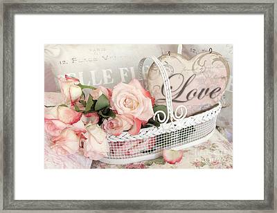 Dreamy Shabby Chic Roses In Cottage White Basket - Roses And Love Heart Framed Print by Kathy Fornal