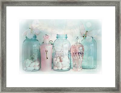Dreamy Shabby Chic Vintage Ball Jars With Pink Bottles - Romantic Aqua Teal Blue Ball Jars Photos Framed Print by Kathy Fornal