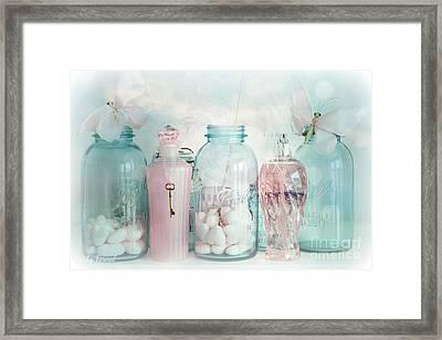 Dreamy Shabby Chic Vintage Ball Jars With Pink Bottles - Romantic Aqua Teal Blue Ball Jars Photos Framed Print