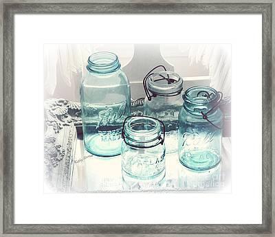Dreamy Shabby Chic Vintage Ball Mason Atlas Jars - Aqua Blue Vintage Mason Ball Jars Framed Print by Kathy Fornal