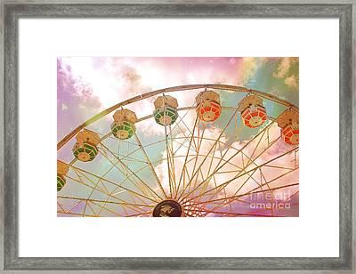 Carnival Fair Festival Ferris Wheel - Dreamy Pink Ferris Wheel Carnival Festival Rides Framed Print by Kathy Fornal
