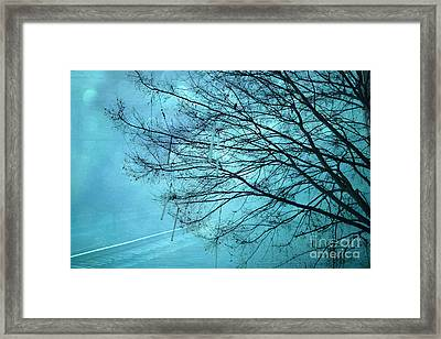 Dreamy Surreal Aqua Teal Turquoise Fantasy Tree Winter Landscape  Framed Print