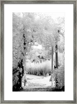 Dreamy Surreal Black White Infrared Arbor Framed Print by Kathy Fornal