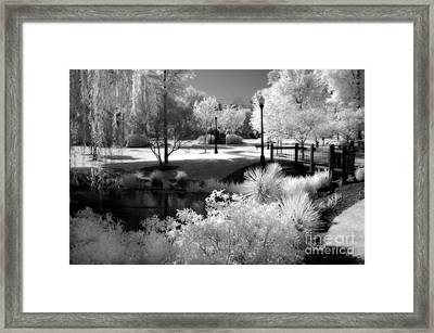 Dreamy Surreal Black White Infrared Landscape Framed Print