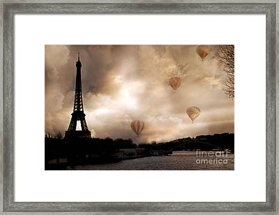 Dreamy Surreal Eiffel Tower Hot Air Balloons Sepia Framed Print by Kathy Fornal