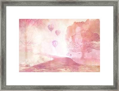 Dreamy Surreal Fantasy Fairytale Pastel Hot Air Balloons Dreamland Nature Fantasy Art Framed Print by Kathy Fornal
