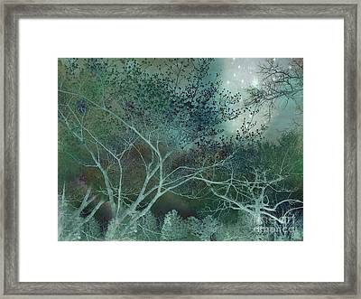 Dreamy Surreal Fantasy Teal Aqua Trees Nature  Framed Print by Kathy Fornal