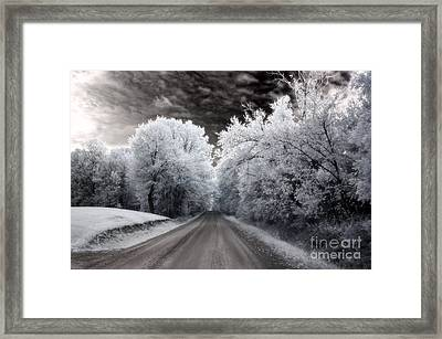 Dreamy Surreal Infrared Country Road Landscape Framed Print by Kathy Fornal
