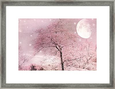 Dreamy Surreal Pink Fairytale Nature Trees Moon And Stars - Shabby Chic Pastel Pink Fairytale Nature Framed Print by Kathy Fornal