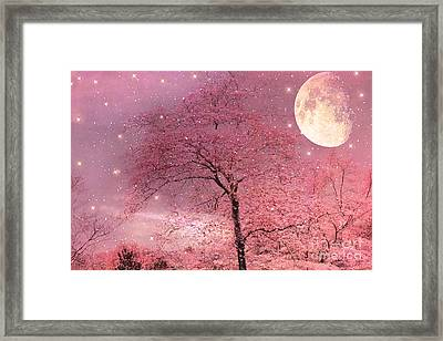 Dreamy Surreal Pink Fantasy Fairytale Trees Moon And Stars Framed Print by Kathy Fornal