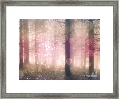 Dreamy Surreal Pink Pastel Fairytale Nature Trees With Bokeh Circles - Fantasy Pink Nature Framed Print