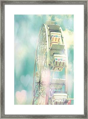Dreamy Teal Aqua Yellow Ferris Wheel Carnival Art With Hearts  Framed Print by Kathy Fornal