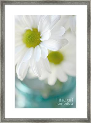 Dreamy White Daisies Aqua Mint Ball Jar Photography - Ethereal Dreamy Shabby Chic White Daisies  Framed Print by Kathy Fornal