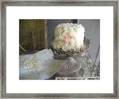 Dreamy White Wedding Cake On Vintage Pedestal Stand - Beautiful Shabby Chic White Wedding Cake  Framed Print by Kathy Fornal