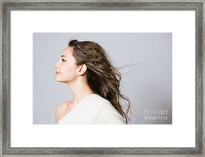 Dreamy Young Brunette Beauty. Framed Print by Alstair Thane