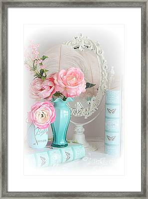 Dreamy Shabby Chic Cottage Pink Aqua Floral - Romantic Cottage Chic Pink Roses And Books  Framed Print