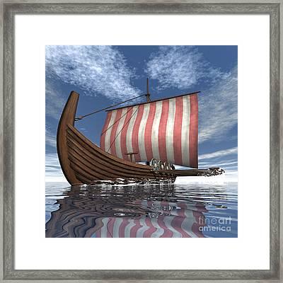 Drekar Viking Ship Navigating The Ocean Framed Print