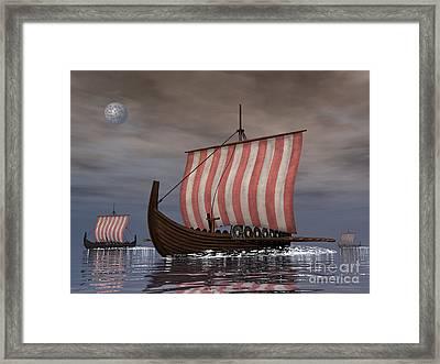 Drekar Viking Ships Navigating Framed Print