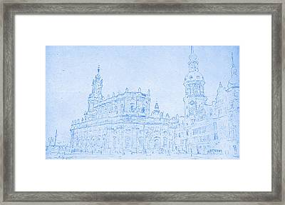 Dresden Germany Blueprint Framed Print