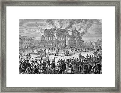 Dresden Opera House On Fire Framed Print by Bildagentur-online/tschanz