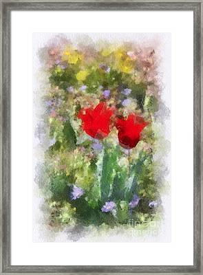 Framed Print featuring the painting Dressed In Red  by Kerri Farley