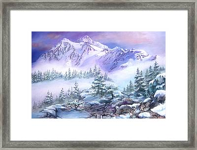 Framed Print featuring the painting Dressed In White Mount Shuksan by Sherry Shipley